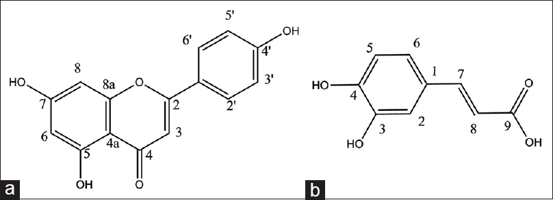Figure 2: Apigenin (a) and caffeic acid (b) isolated from <i>Cousinia verbascifolia</i> Bunge