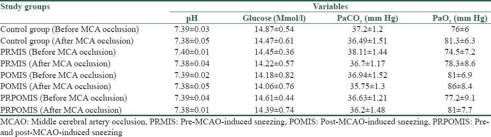 Table 1: Summary of physiological values at 5 min before and after middle cerebral artery occlusion in control, premiddle cerebral artery occlusion-induced sneezing, postmiddle cerebral artery occlusion-induced sneezing and pre- and post-middle cerebral artery occlusion-induced sneezing groups