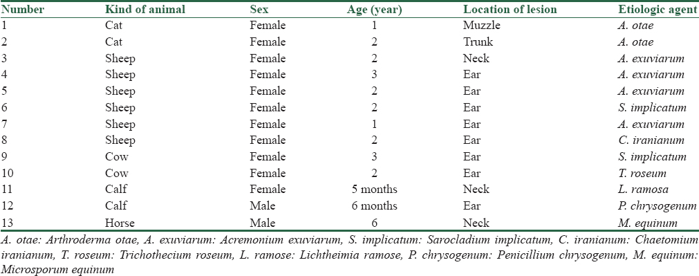 Table 1: The characteristics of animals with lesions suspected to dermatomycosis in the present study